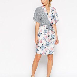 ASOS Tall | Kimono Mixed Print Wrap Dress